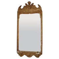 George I period giltwood and carved gesso wall mirror