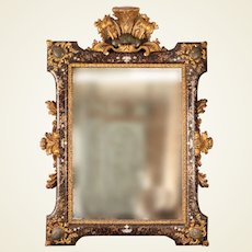 Italian Faux Tortoise Shell Wall Mirror of Large Size