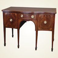 George III Period Mahogany, Marquetry and Banded Sideboard of Serpentine Outline