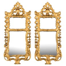 Pair of George III period mirrors, in the rococo manner