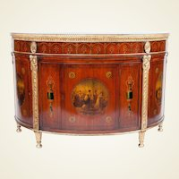 George III period painted satinwood and gilt demilune commode