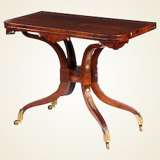 Regency period rosewood 'scissor action' games table