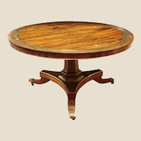 Regency period rosewood and brass inlaid centre table