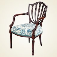 George III style mahogany armchair of ample proportions, in the Hepplewhite manner