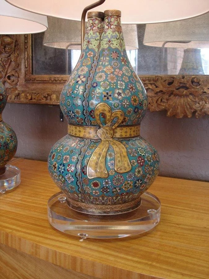 Pair Of Cloisonn Triple Gourd Vases Now As Lamp Bases Chappell