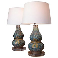 Pair of Cloisonné Triple Gourd Vases, Now as Lamp Bases