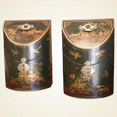 A Pair of George III Period Green Japanned Knife Boxes