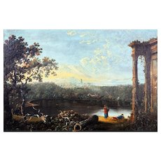 Circle of Richard Wilson, RA – Capriccio of the Roman Campagna, Hadrian's Villa