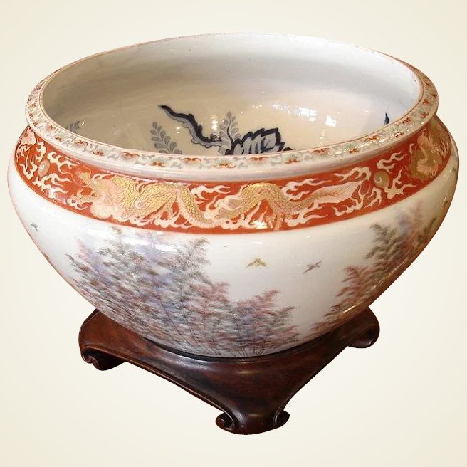 Late meiji period large porcelain fish bowl chappell for Large fish bowl