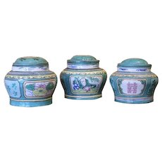 Three Chinese Lead Pigment Glazed Stoneware Herb Jars