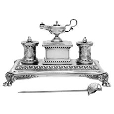 Victorian sterling silver desk stand of large size