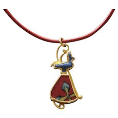 Wolfgang Skoluda A Gold Pendant w/ Egyptian Goose Amulet & Millefiori Glass