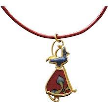 Wolfgang Skoluda A Gold Pendant w/ Egyptian Goose Amulet & Millefiori Glass