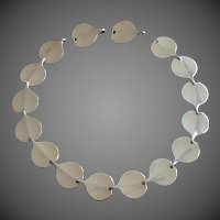"Bent Gabrielsen for Hans Hansen Denmark Modernist ""Lilypad"" Silver Necklace"