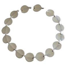 "Bent Gabrielsen for Hans Hansen Denmark Modernist ""Lilypad"" Silver Necklace"