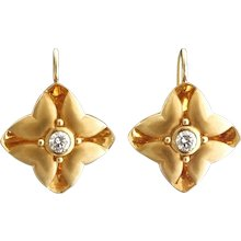 Sophisticated Modern Floral Diamond Gold Drop Earrings
