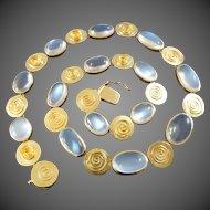Kathe Ruckenbrod Modernist Moonstone Gold Necklace