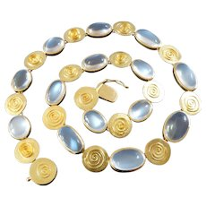Kathe Ruckenbrod Modernist Moonstone Gold Necklace