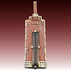 Theodor Fahrner Art Deco Enamel Smoky Quartz Citrine Gilt Silver Pendant