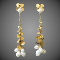 Wolfgang Zipp Long Dangling Detachable Modernist Pearl Gold Earrings