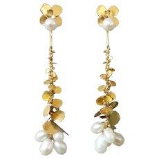 Wolfgang Zipp Long Dangling Detachable Modernist Pearl Gold Earrings