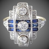 1920s-1930s Art Deco Diamond Blue Sapphire White Yellow Gold Cocktail Ring