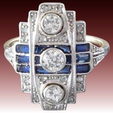1920s-1930s Art Deco Diamond Blue Sapphire White Yellow Gold Cocktail Ring