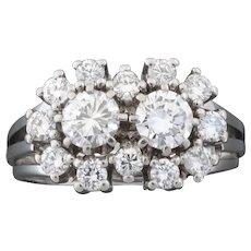 Classical 1950s Two-Stone 1.14 Carat Brilliant Cut Diamond White Gold Ring
