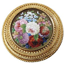 1860s Antique Italian Micro Mosaic Gold Brooch
