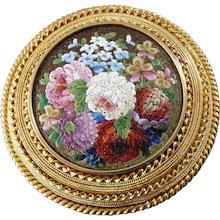 1860s Antique Italian Micro Mosaic Gold Brooch