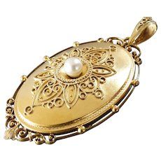 Large Antique Victorian Filigree Design Pearl Gold Locket