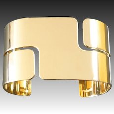 Dinh Van Modern Retro 'Seventies' Gold Cuff Bangle