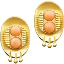 Unique 1990s Postmodernist Angel Skin Coral Gold Clip-on Earrings
