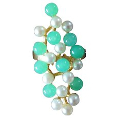 1970s Modernist Chrysoprase Pearl Gold Ring