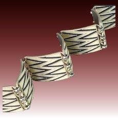 1920s Theodor Fahrner Art Deco Matte Enamel Silver Bracelet