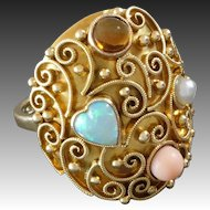 Unique German 1920s Opal Heart Angelskin Coral Citrine Pearl Gold Cocktail Ring