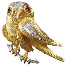 1970s Diamond Ruby Gold Falcon Bird Brooch Pin