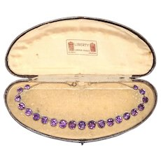 Liberty & Co. Antique Late Victorian Amethyst Gold Riviere Necklace Original Case