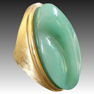 1970s Burle Marx Forma Livre Modernist Jade Green Chrysoprase Gold Cocktail Ring