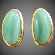 1970s Burle Marx Forma Livre Jade Green Chrysoprase Gold Clip-On Earrings