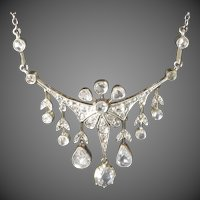 Antique Late Victorian Edwardian Rose Diamond Silver on Gold Necklace
