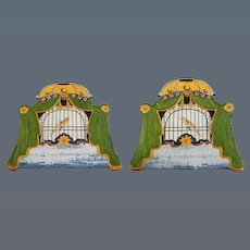 Pair of Early Nineteenth-Century Dutch Delft Birdcage Plaques (c. 1850 Holland)
