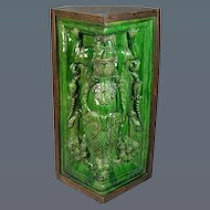 German Green Glazed Stoneware Corner Tile of Large Size (c. 1650 Germany)
