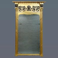 Regency Giltwood & Ebonised Mirror with an Early Eighteenth Century Re-Used Bevelled Mirror Plate (c. 1810 England)