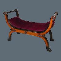Anglo-Indian Padouk and Satinwood X-Frame Stool (c. 1840 India)