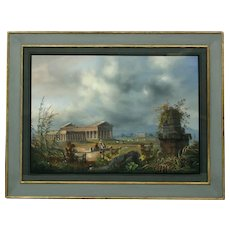 Early 19th Century Italian Gouache Picture of PAESTUM. (c. 1830 Italy)