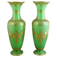Pair of Green and Gilt Glass Vases (c. 1860 France)