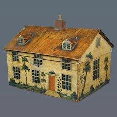 George III painted cottage workbox.