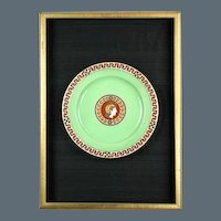 Pair of Late 19th Century Limoges Classical Green Ground Plates (c. 1900 France)