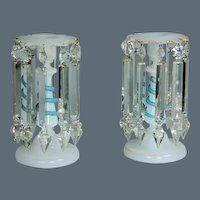 Pair of Victorian Opaline Glass Candlesticks, with Blue Serpent Coiled around Central Column. Circa 1880. (c. 1880 French)